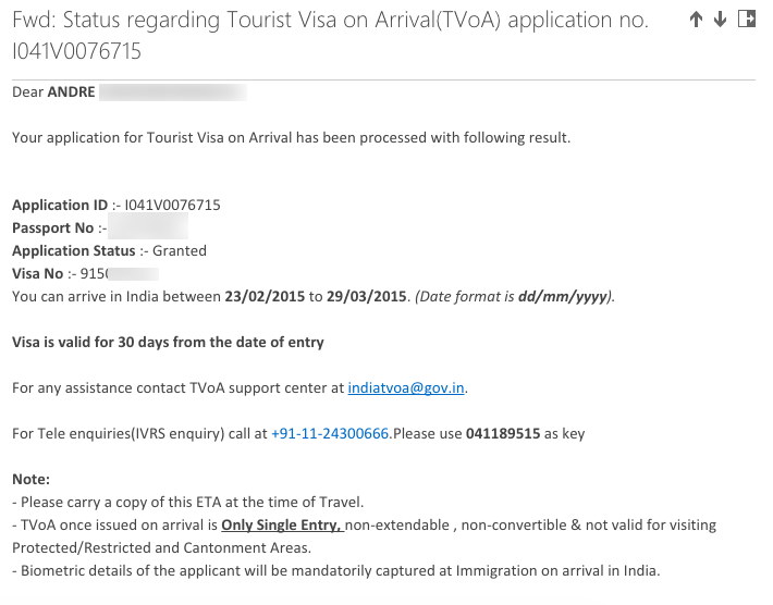Voila! visa is granted. Pemberitahuan setelah visa disetujui.